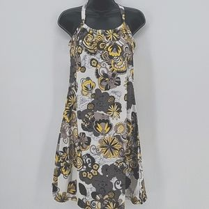 Prana Yellow & Gray Print Quinn Dress Size Small